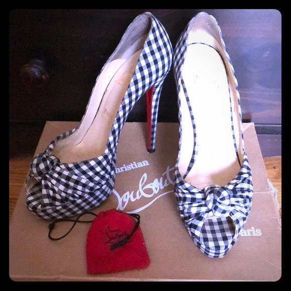 3d636ece5f9 CL Gingham pattern black and white peep toe